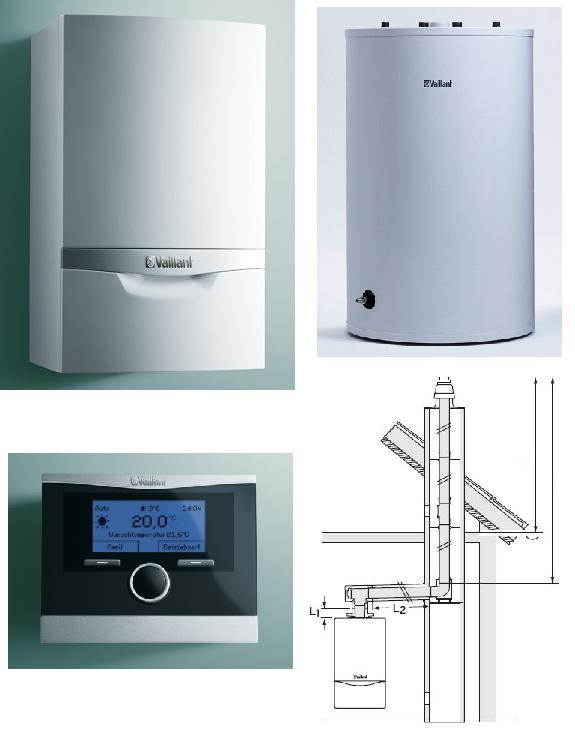 Pakiet: Kocioł kondensacyjny VAILLANT VC PLUS 306/3-5 10-32kW + zasobnik  VIR R150L + calorMATIC 470 + zestaw do szachtu 0010011714-6RS